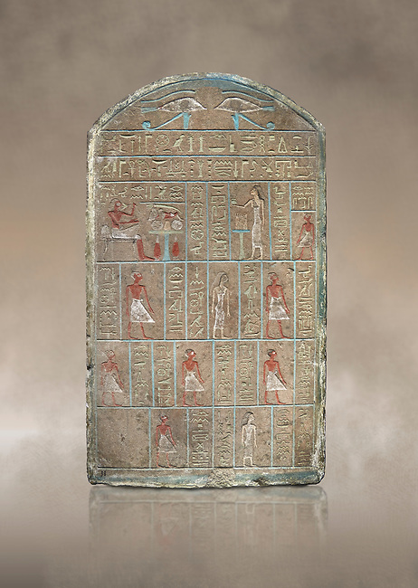 Ancient Egyptian stele of commander in chief Senebetysy, sandstone, Middle Kingdom, 13th Dynasty, (11759-1700 BC), Deir el-Medina, Old Fund cat 1629. Egyptian Museum, Turin. <br /> <br /> Stet for the commander in chief of the city regiment of Sarenenutrt, son of Sainyt and his wife Senebtysy.