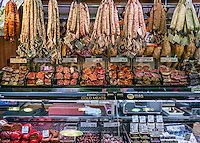 Butcher shop, La Boqueria market , Barcelona, Spain