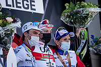 Tadej Pogačar (SVN/UAE-Emirates) wins the 107th Liège-Bastogne-Liège 2021 (1.UWT)<br /> World Champion Julian Alaphilippe (FRA/Deceuninck - QuickStep) finishes 2nd & David Gaudu (FRA/Groupama - FDJ) 3rd<br /> <br /> 1 day race from Liège to Liège (259km)<br /> <br /> ©kramon