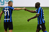 Romelu Lukaku of FC Internazionale celebrates with Milan Skriniar after scoring the goal of 1-0 during the Serie A football match between FC Internazionale and UC Sampdoria at Stadio San Siro in Milano ( Italy ), June 21th, 2020. Play resumes behind closed doors following the outbreak of the coronavirus disease. <br /> Photo Image/Insidefoto