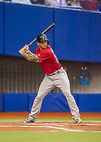 1 April 2016: Boston Red Sox catcher Blake Swihart in action during a pre-season exhibition series between the Toronto Blue Jays and the Boston Red Sox at Olympic Stadium in Montreal, Quebec, Canada. The Red Sox defeated the Blue Jays 4-2 in the first of two MLB weekend games, which saw an attendance of 52,682 at the former home on the Montreal Expos. Mandatory Credit: Ed Wolfstein Photo *** RAW (NEF) Image File Available ***