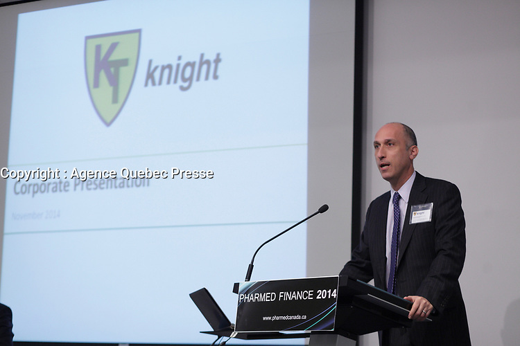 Montreal, CANADA - File Photo - Jonathan Goodman, CEO KNIGHT and former CEO, Palladin speak at Pharmed Finance seminar, Nov 25, 2014.<br /> <br /> Photo : Agence Quebec Pressse - Pierre Roussel