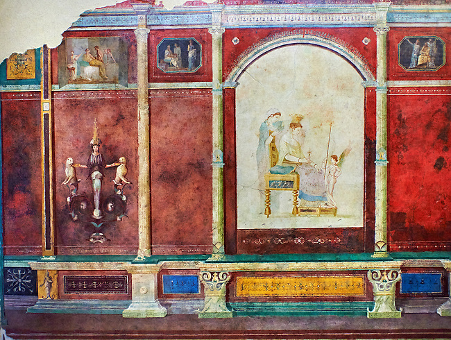 Roman fresco wall decorations of Bedroom B  of the Villa Farnesia, Rome. Museo Nazionale Romano ( National Roman Museum), Rome, Italy.<br /> <br /> The bedroom (cubiculum). an intimate space with a bed (kline), divided into antechamber and bed alcove, has a rich decoration whose dominant color is the expensive cinnabar red. Architectural elements rendered in perspective complete with shadows are the setting for representations of pictures hung on the walls, which give the impression of an art gallery. Painted aedicula frame on the left wall the toilette of Aphrodite, on the right Dionysos with the nymphs of Mt. Nysa, to whom Zeus had entrusted the care of his baby son. Other small pictures, shown with illusionistic wooden protective shutters, present scenes of interiors and pairs of lovers. Fantastic ornamental figures and Egyptian gods, like Isis and Juppiter Ammon, cover the walls. The barrel vault in pure white stucco is decorated with reliefs showing scenes of initiation into the mysteries and idylic landscapes with sacred elements.