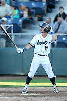 Austin Cousino #19 of the Everett AquaSox bats against the Boise Hawks at Everett Memorial Stadium on July 25, 2014 in Everett, Washington. Everett defeated Boise, 3-1. (Larry Goren/Four Seam Images)