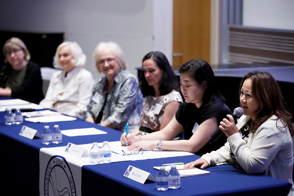 Kaori Otaki speaks during the panel discussion at the 11th USA International Harp Competition at Indiana University in Bloomington, Indiana on Friday, July 12, 2019. (Photo by James Brosher)