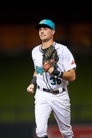 Salt River Rafters center fielder Josh Lowe (36), of the Tampa Bay Rays organization, jogs off the field between innings of an Arizona Fall League game against the Mesa Solar Sox on September 27, 2019 at Salt River Fields at Talking Stick in Scottsdale, Arizona. Salt River defeated Mesa 6-1. (Zachary Lucy/Four Seam Images)