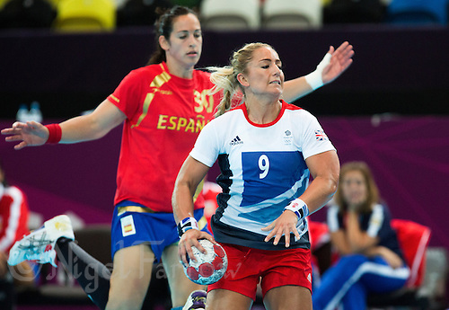 25 JUL 2012 - LONDON, GBR - Britt Goodwin (GBR) of Great Britain prepares to shoot during the women's London 2012 Olympic Games warm up handball match against Spain at The Copper Box in the Olympic Park, in Stratford, London, Great Britain .(PHOTO (C) 2012 NIGEL FARROW)