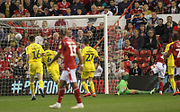 Nottingham Forest's Tiago Silva scores his sides first goal   beating Fleetwood Town's Alex Cairns<br /> <br /> Photographer Mick Walker/CameraSport<br /> <br /> The Carabao Cup First Round - Nottingham Forest v Fleetwood Town - Tuesday 13th August 2019 - The City Ground - Nottingham<br />  <br /> World Copyright © 2019 CameraSport. All rights reserved. 43 Linden Ave. Countesthorpe. Leicester. England. LE8 5PG - Tel: +44 (0) 116 277 4147 - admin@camerasport.com - www.camerasport.com