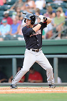 Left fielder Adam Heisler (6) of the Kannapolis Intimidators in a game against the Greenville Drive on Monday, August 5, 2013, at Fluor Field at the West End in Greenville, South Carolina. Kannapolis won, 3-0. (Tom Priddy/Four Seam Images)