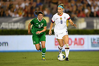 PASADENA, CALIFORNIA - August 03: Julie Ertz #8, Niamh Fahey #5 during their international friendly and the USWNT Victory Tour match between Ireland and the United States at the Rose Bowl on August 03, 2019 in Pasadena, CA.