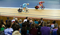 05 DEC 2014 - STRATFORD, LONDON, GBR - Eloy Teruel Rovira (ESP) (right) from Spain leads a break on his way to winning the Men's Points Race at the 2014 UCI Track Cycling World Cup in the Lee Valley Velo Park in Stratford, London, Great Britain (PHOTO COPYRIGHT © 2014 NIGEL FARROW, ALL RIGHTS RESERVED)