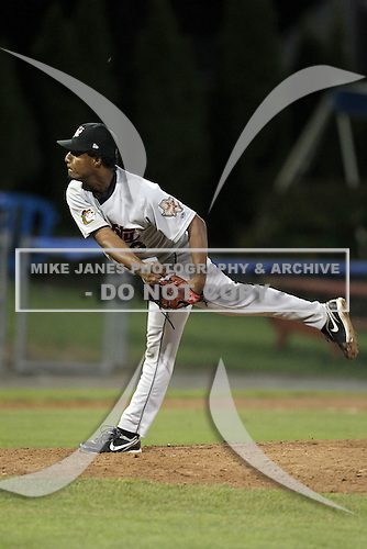 Tri-City Valleycats Pitcher Joan Belliard (36) during game two of the NYPL Semifinals vs. the Batavia Muckdogs at Dwyer Stadium in Batavia, New York September 8, 2010.   Batavia defeated Tri-City 5-4.  Photo By Mike Janes/Four Seam Images