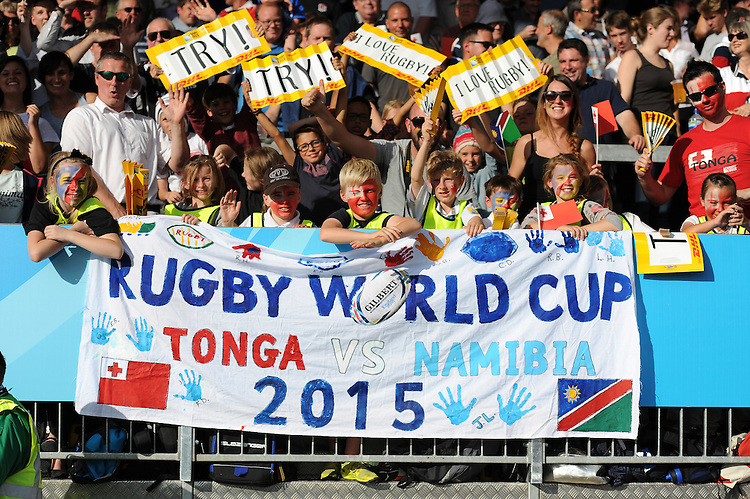 Fans soak up the sunshine during Match 20 of the Rugby World Cup 2015 between Tonga and Namibia - 29/09/2015 - Sandy Park, Exeter<br /> Mandatory Credit: Rob Munro/Stewart Communications
