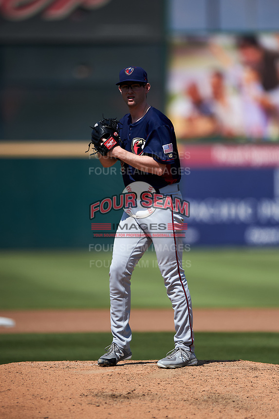 Lancaster JetHawks starting pitcher Brandon Gold (32) prepares to deliver a pitch during a California League game against the Inland Empire 66ers at San Manuel Stadium on May 20, 2018 in San Bernardino, California. Inland Empire defeated Lancaster 12-2. (Zachary Lucy/Four Seam Images)