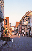 Vosges-Alsace: Village street. Half-timbered houses, narrow brick streets.