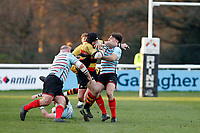 Toby Hassell of Richmond Rugby is tackled by Markus Burcham of Blackheath Rugby during the English National League match between Richmond and Blackheath  at Richmond Athletic Ground, Richmond, United Kingdom on 4 January 2020. Photo by Carlton Myrie.