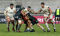 2nd January 2021   Ulster vs Munster <br /> <br /> Rob Herring is tackled by Chris Cloete and Billy Holland during the PRO14 Round 10 clash between Ulster Rugby and Munster Rugby at the Kingspan Stadium, Ravenhill Park, Belfast, Northern Ireland. Photo by John Dickson/Dicksondigital