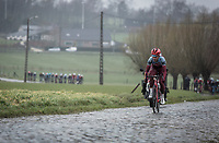 Tony Martin (GER/Katusha Alpecin) leading on the cobbles of Mariaborrestraat. <br /> <br /> <br /> 73th Dwars Door Vlaanderen (1.UWT)<br /> 1day race: Roeselare › Waregem BEL (180km)