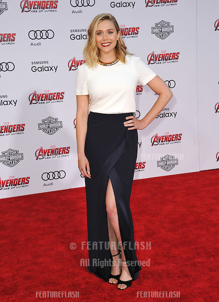 """Elizabeth Olsen at the world premiere of her movie """"Avengers: Age of Ultron"""" at the Dolby Theatre, Hollywood.<br /> April 13, 2015  Los Angeles, CA<br /> Picture: Paul Smith / Featureflash"""