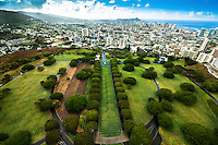 An aerial view of Punchbowl National Cemetery facing Diamond Head on O'ahu.