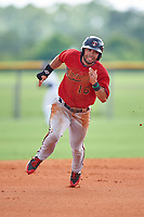 GCL Twins third baseman Alex Robles (16) runs the bases during the second game of a doubleheader against the GCL Rays on July 18, 2017 at Charlotte Sports Park in Port Charlotte, Florida.  GCL Twins defeated the GCL Rays 4-2 after the game was postponed in the second inning to the following day at Charlotte Sports Park in Port Charlotte, Florida.  (Mike Janes/Four Seam Images)