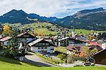 Austria, Vorarlberg, Kleinwalsertal, village Riezlern and Allgaeu Alps | Oesterreich, Vorarlberg, Kleinwalsertal, Riezlern vor Allgaeuer Alpen