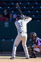 Jonathan Roof (3) of the Salem Red Sox at bat against the Winston-Salem Dash at BB&T Ballpark on April 20, 2014 in Winston-Salem, North Carolina.  The Dash defeated the Red Sox 10-8.  (Brian Westerholt/Four Seam Images)