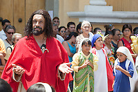 Jesus Giving the Sermon on the Mount.  Palm Sunday Re-enactment of events in the life of Jesus, by the group called Luna LLena (Full Moon), a group of volunteers in Antigua, Guatemala.