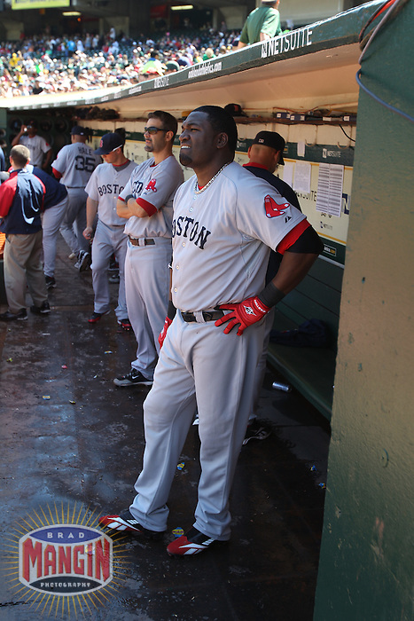 OAKLAND, CA - SEPTEMBER 12:  David Ortiz #34 of the Boston Red Sox gets ready in the dugout before the game against the Oakland Athletics at the Oakland-Alameda County Coliseum on September 12, 2010 in Oakland, California. Photo by Brad Mangin