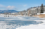 Germany, Bavaria, Upper Bavaria, Tegernseer Valley, Winter at Lake Tegern; view across the lake towards Tegernsee