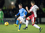 St Johnstone v Rangers…28.12.16     McDiarmid Park    SPFL<br />Chris Millar is closed down by James Tavernier<br />Picture by Graeme Hart.<br />Copyright Perthshire Picture Agency<br />Tel: 01738 623350  Mobile: 07990 594431