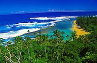 Kee beach on the north shore of the island of Kauai