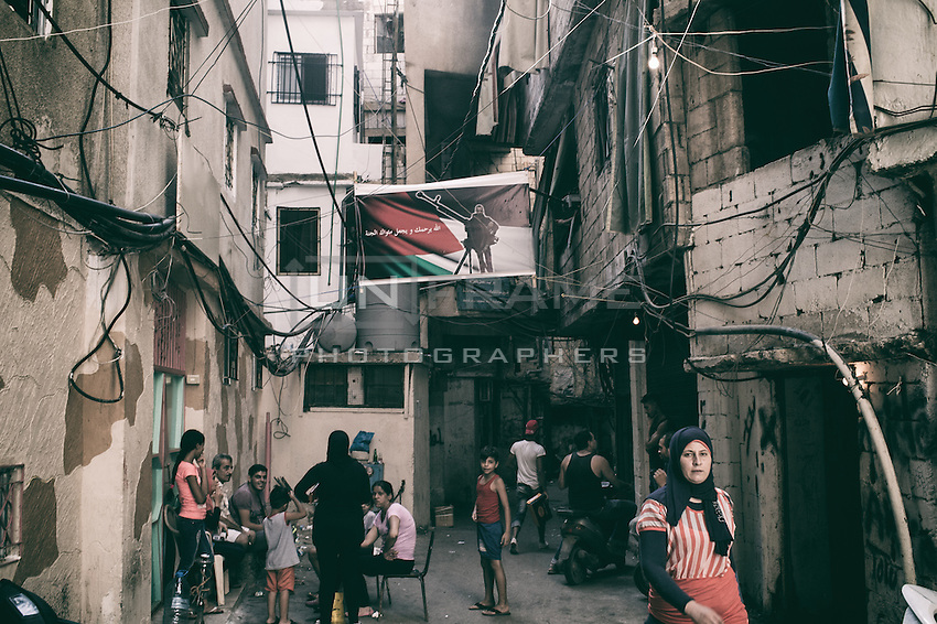 In the Shtaila camp the streets are decorated with the pictures of the martyr who died fighting against Israel. Shatila, Beirut, Lebanon August 2015