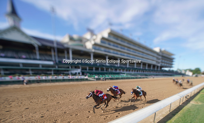September 4, 2020: Sharesthedevil, #7, ridden by jockey Florent Geroux, wins the Longines Kentucky Oaks on Kentucky Oaks Day. The races are being run without fans due to the coronavirus pandemic that has gripped the world and nation for much of the year, with only essential personnel, media and ownership connections allowed to attend at Churchill Downs in Louisville, Kentucky. Scott Serio/Eclipse Sportswire/CSM (Image made with a variable plane tilt shift adapted lens)