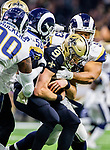 New Orleans Saints quarterback Drew Brees (9) is sacked by the Los Angeles Rams in the first half of the NFC Championship against the New Orleans Saints at the Mercedes-Benz Superdome in New Orleans on January 20, 2019. Photo by Mark Wallheiser/UPI