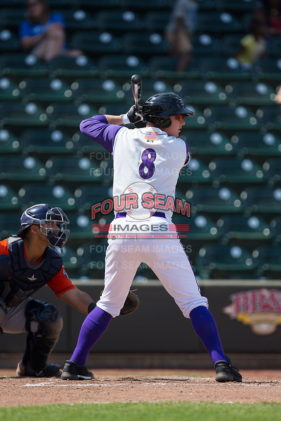 Zack Collins (8) of the Winston-Salem Dash at bat against the Buies Creek Astros at BB&T Ballpark on April 16, 2017 in Winston-Salem, North Carolina.  The Dash defeated the Astros 6-2.  (Brian Westerholt/Four Seam Images)