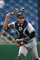 Tampa Yankees catcher Peter O'Brien (24) during a game against the Clearwater Threshers on April 9, 2014 at Bright House Field in Clearwater, Florida.  Tampa defeated Clearwater 5-3.  (Mike Janes/Four Seam Images)
