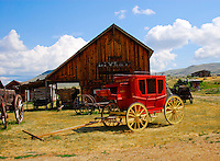 Gallows Barn and red stagecoach at Nevada City, Montana