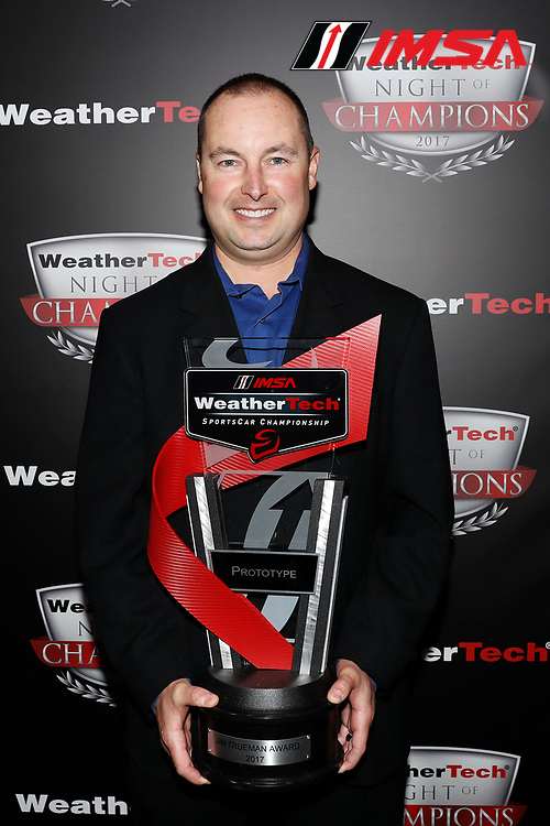 IMSA WeatherTech SportsCar Championship<br /> Night of Champions<br /> Road Atlanta, Braselton GA<br /> Monday 9 October 2017<br /> John Church with Jim Trueman Award trophy<br /> World Copyright: Michael L. Levitt<br /> LAT Images