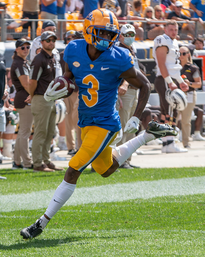Pitt wide receiver Jordan Addison scores on a 67-yard touchdown reception. The Western Michigan University Broncos defeated the Pitt Panthers 44-41 at Heinz Field, Pittsburgh, Pennsylvania on September 18, 2021.