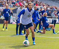 CHICAGO, IL - OCTOBER 5: Tobin Heath #17 of the United States dribbles at Soldier Field on October 5, 2019 in Chicago, Illinois.