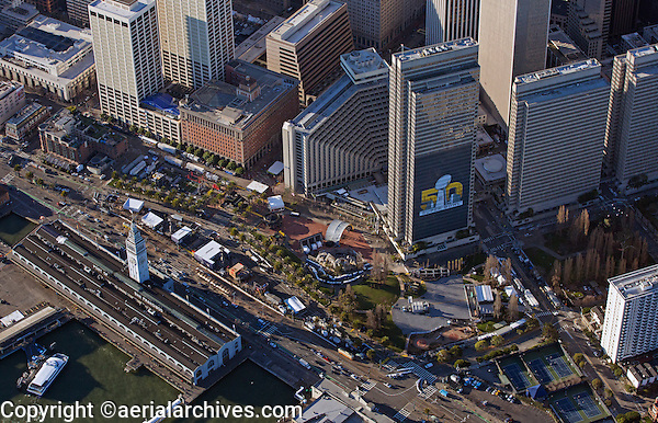 aerial photograph Ferry Building, Superbowl City, Embarcadero Center during Superbowl 50, San Francisco, California