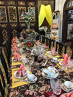 Peranakan Mansion, Table Setting in Main Dining Area,  George Town, Penang, Malaysia.