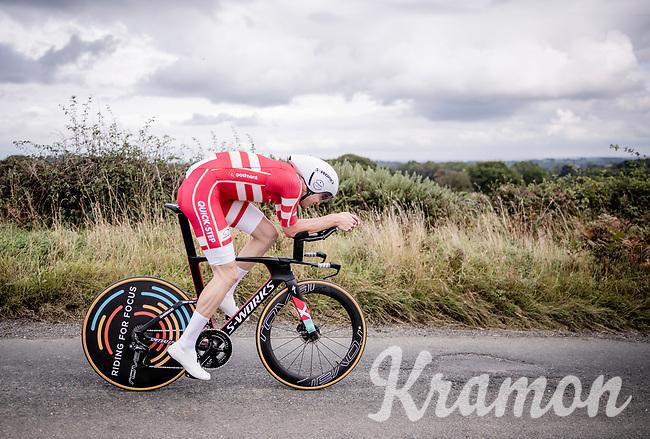 Kasper Asgreen (DEN/Deceuninck Quick Step)<br /> Elite Men Individual Time Trial<br /> from Northhallerton to Harrogate (54km)<br /> <br /> 2019 Road World Championships Yorkshire (GBR)<br /> <br /> ©kramon