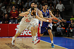 Real Madrid´s Sergio Rodriguez and Anadolu Efes´s Stratos Perperoglou during 2014-15 Euroleague Basketball Playoffs second match between Real Madrid and Anadolu Efes at Palacio de los Deportes stadium in Madrid, Spain. April 17, 2015. (ALTERPHOTOS/Luis Fernandez)