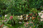 11880-EM Subtropical Shade Garden, stone-edged water feature, Staghorn Fern, potted Cymbidium Orchids, India Hawthorn, at Sherman Oaks, CA USA