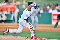 Northern Divisions starting pitcher Will Stewart (27) of the Lakewood BlueClaws swings at a pitch during the South Atlantic League All Star Game at First National Bank Field on June 19, 2018 in Greensboro, North Carolina. The game Southern Division defeated the Northern Division 9-5. (Tony Farlow/Four Seam Images)