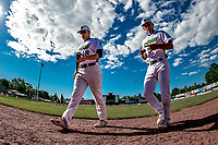 29 May 2021: Vermont Lake Monsters Infielder Brian Hadden, from Newburyport, MA and pitcher Francis Ferguson, from Jefferson, MA, walk to the dugout prior to a game against the Norwich Sea Unicorns at Centennial Field in Burlington, Vermont. The Lake Monsters defeated the Sea Unicorns 6-3 in their FCBL Home Opener, the first home game played at Centennial Field post-Covid-19 pandemic. Mandatory Credit: Ed Wolfstein Photo *** RAW (NEF) Image File Available ***