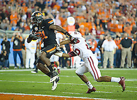STANFORD, CA - January 2, 2012: Oklahoma State wide receiver Justin Blackmon (81) scores a touchdown against Stanford at the Fiesta Bowl at University of Phoenix Stadium in Phoenix, AZ. Final score Oklahoma State wins 41-38.