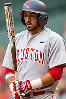 Houston Cougars third baseman Justin Montemayor #20 during the NCAA baseball game against the Texas Longhorns on March 1, 2014 during the Houston College Classic at Minute Maid Park in Houston, Texas. The Longhorns defeated the Cougars 3-2. (Andrew Woolley/Four Seam Images)